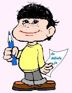 chłopiec trzymający w ręku list do Świętego Mikołaja